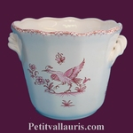 CACHE POT DROIT ANSES PETIT MODELE DECOR MOUSTIERS ROSE